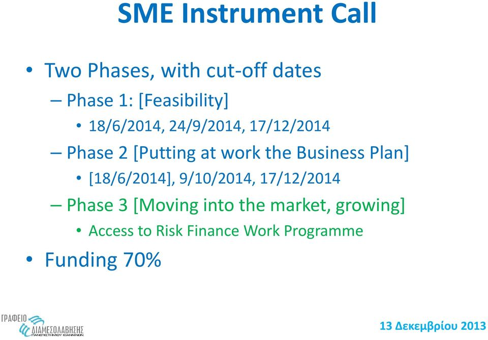 work the Business Plan] [18/6/2014], 9/10/2014, 17/12/2014 Phase 3