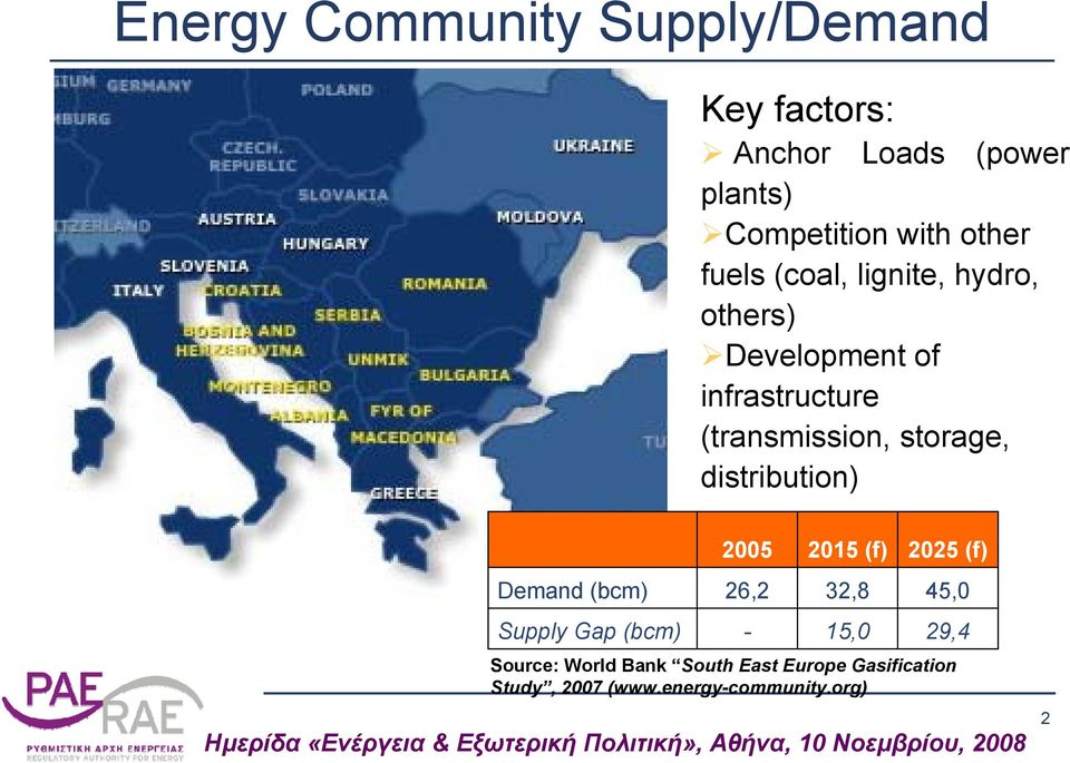 (f) Demand (bcm) 26,2 32,8 45,0 Supply Gap (bcm) - 15,0 29,4 Source: World Bank South East Europe Gasification