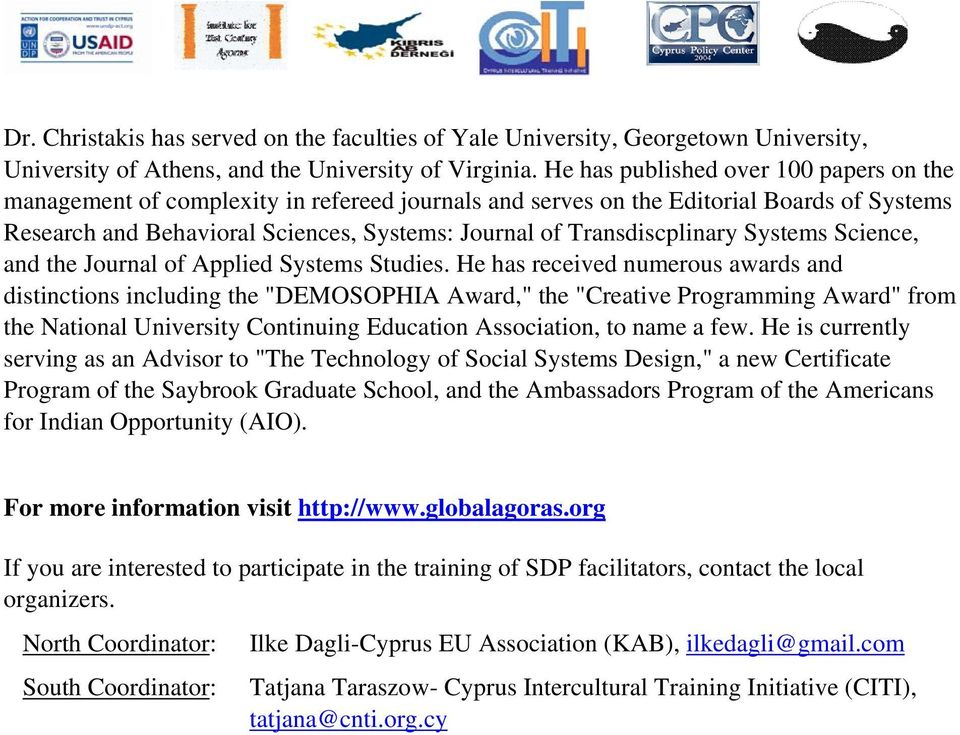 Transdiscplinary Systems Science, and the Journal of Applied Systems Studies.