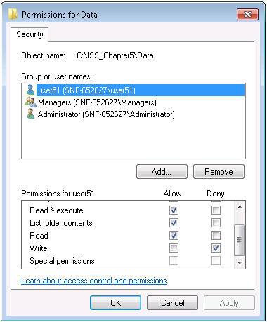User Permissions Administrator Read, Write user51 Read and Execute, List folder contents, Read user52 Πίνακας 5.
