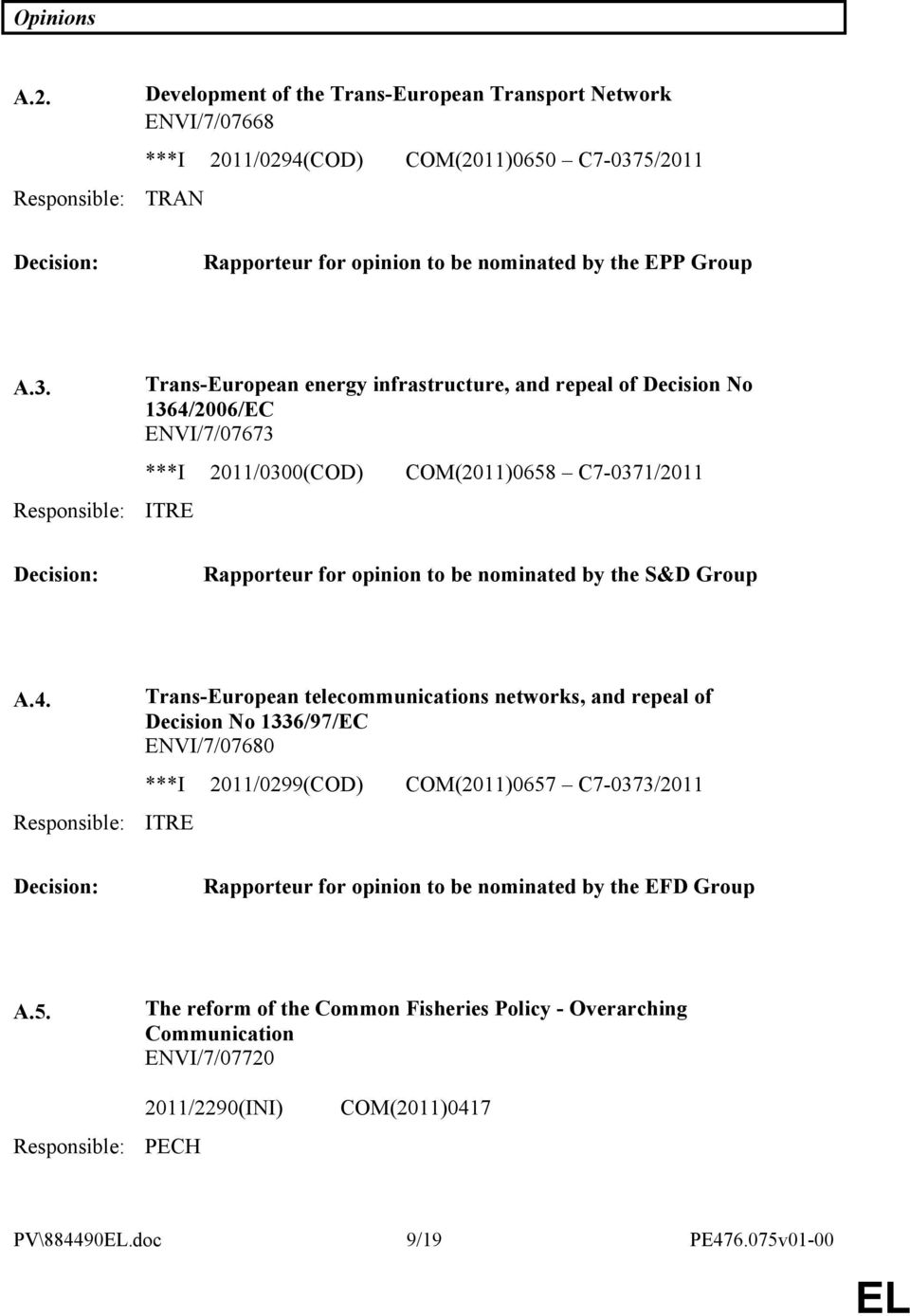 5/2011 TRAN Decision: Rapporteur for opinion to be nominated by the EPP Group A.3.
