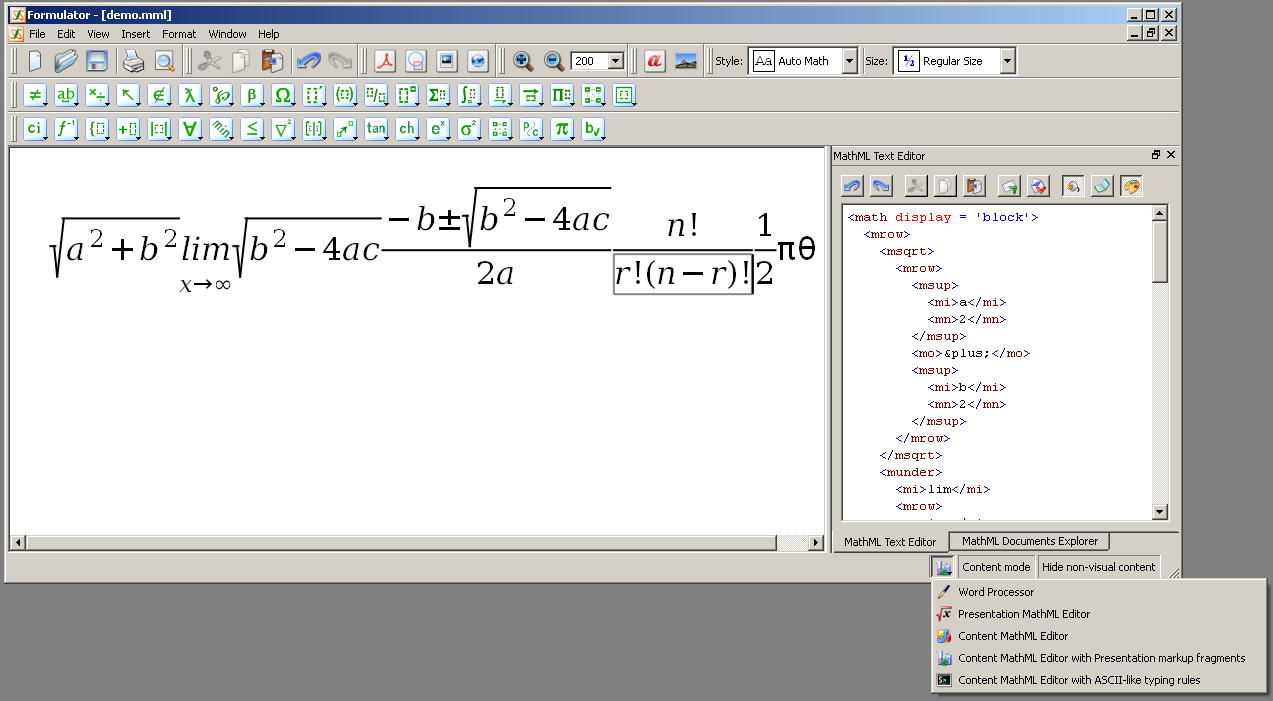 Formulator MathML Weaver