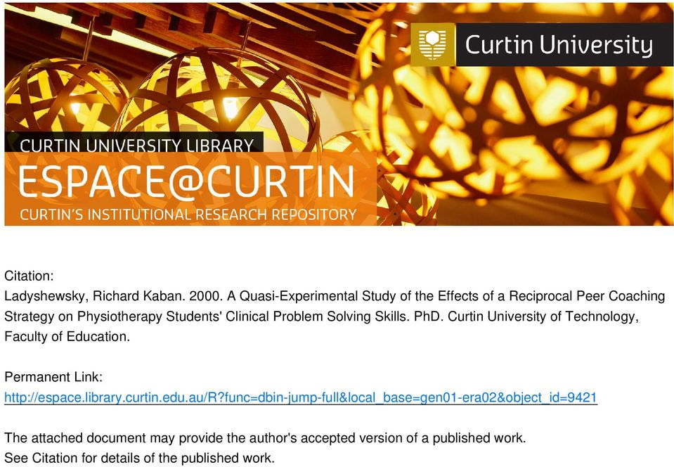 Problem Solving Skills. PhD. Curtin University of Technology, Faculty of Education. Permanent Link: http://espace.library.