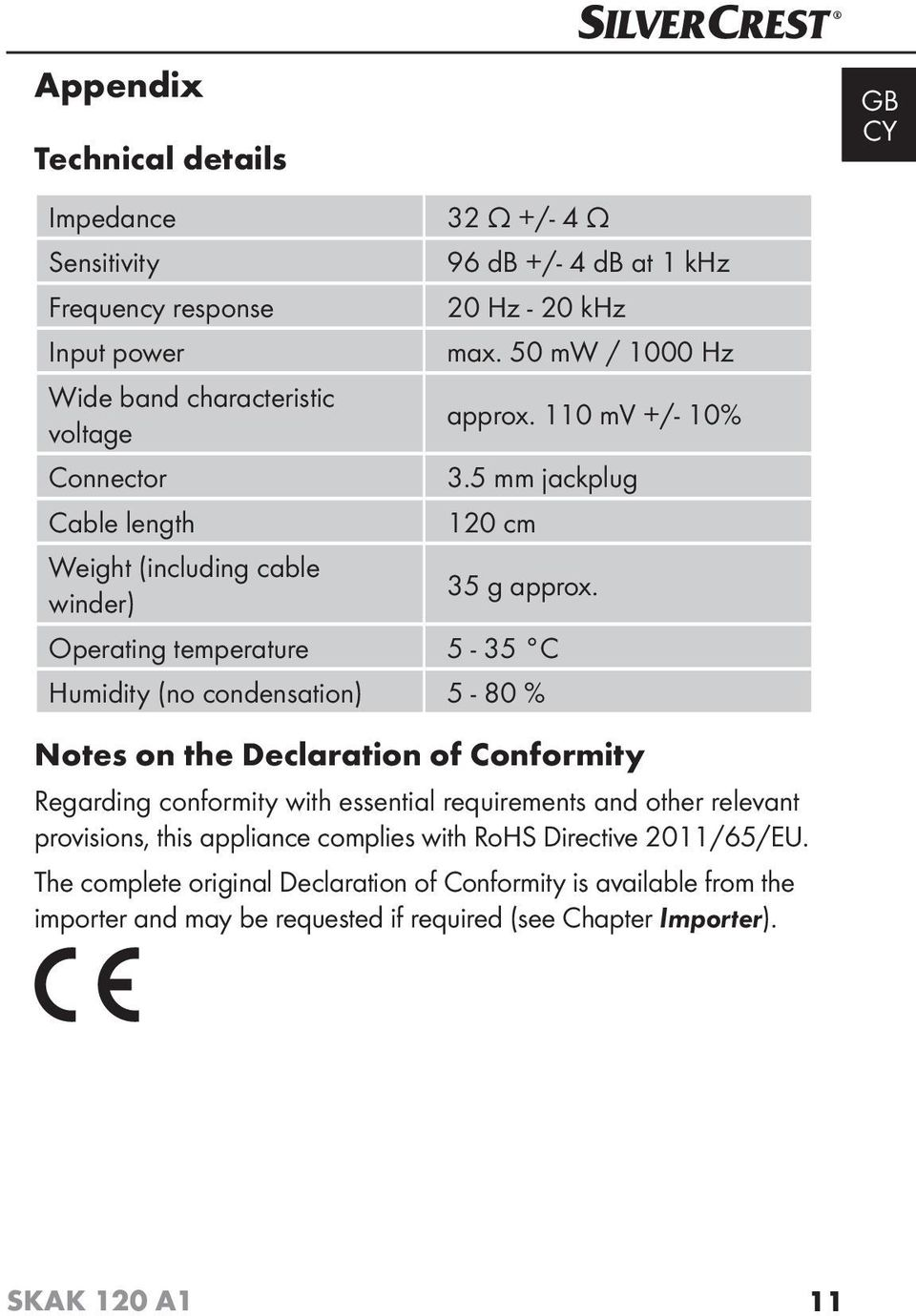 Operating temperature 5-35 C Humidity (no condensation) 5-80 % Notes on the Declaration of Conformity Regarding conformity with essential requirements and other relevant