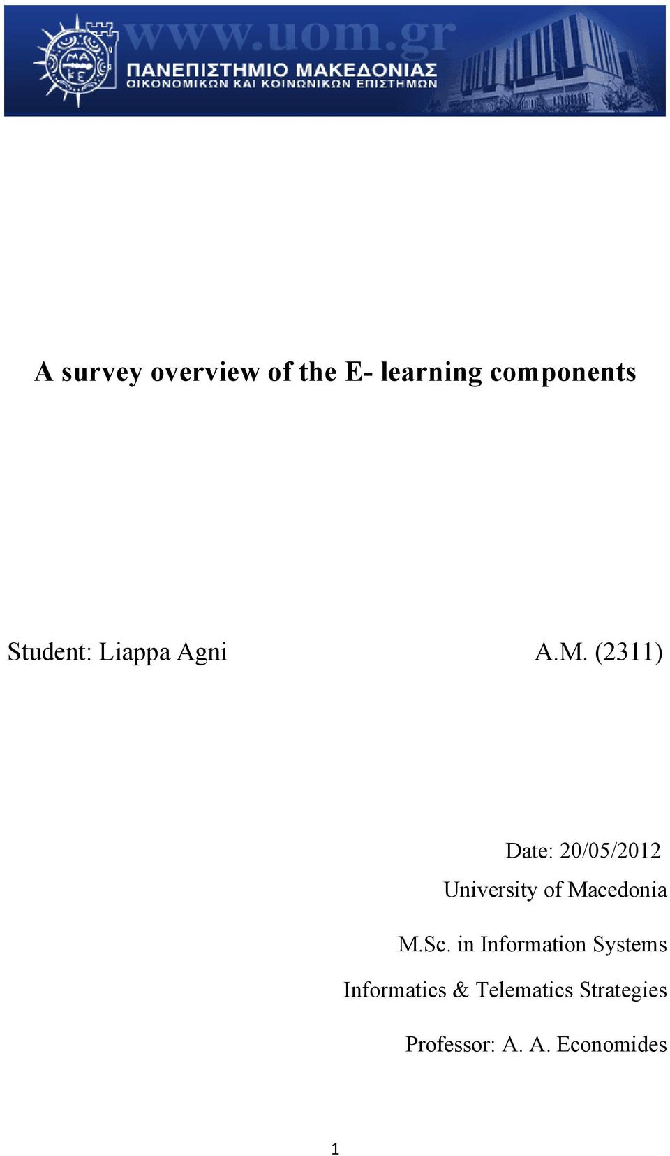 (2311) Date: 20/05/2012 University of Macedonia M.Sc.