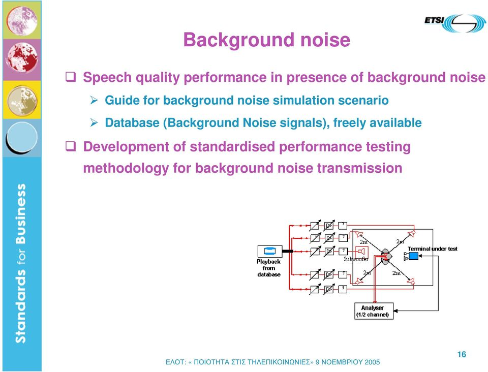 Database (Background Noise signals), freely available Development of