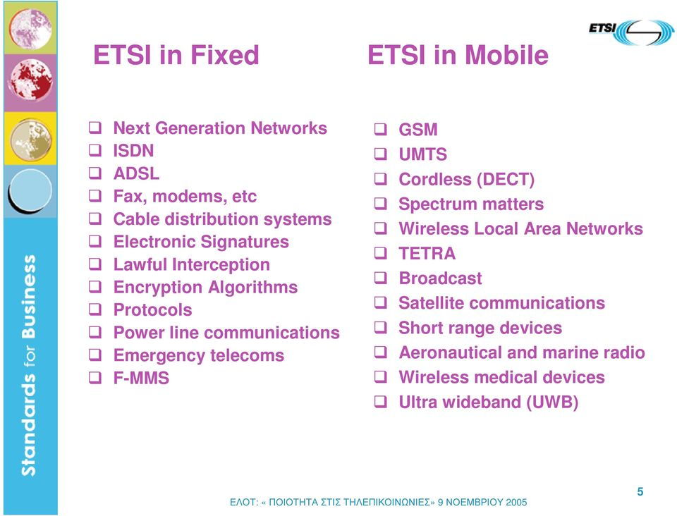telecoms F-MMS GSM UMTS Cordless (DECT) Spectrum matters Wireless Local Area Networks TETRA Broadcast