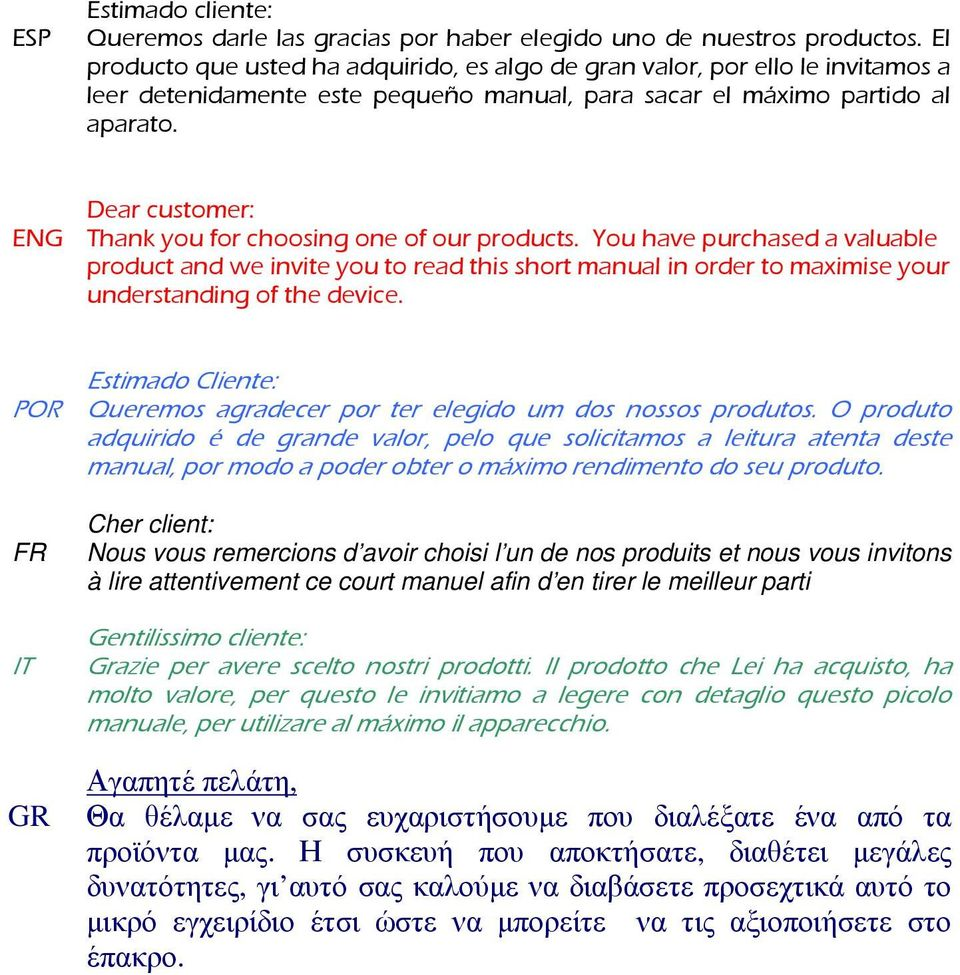 Dear customer: ENG Thank you for choosing one of our products. You have purchased a valuable product and we invite you to read this short manual in order to maximise your understanding of the device.