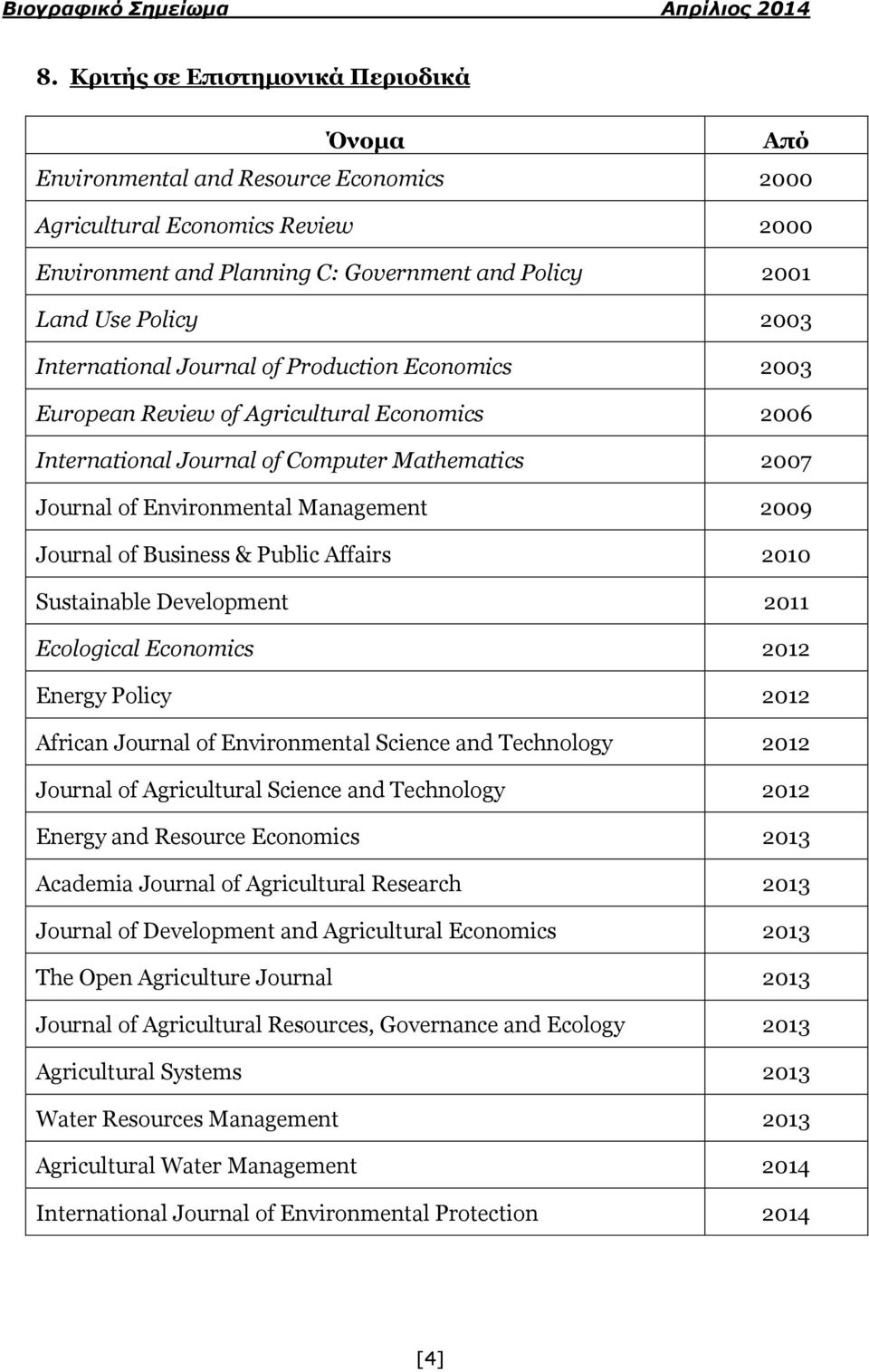 of Business & Public Affairs 2010 Sustainable Development 2011 Ecological Economics 2012 Energy Policy 2012 African Journal of Environmental Science and Technology 2012 Journal of Agricultural