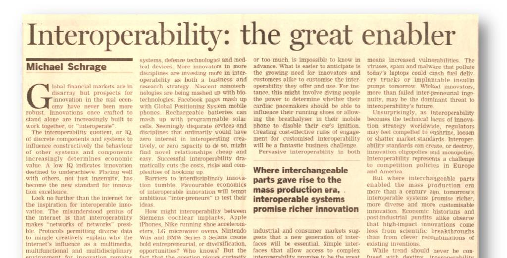 Right from the press Interoperability is viewed as the most