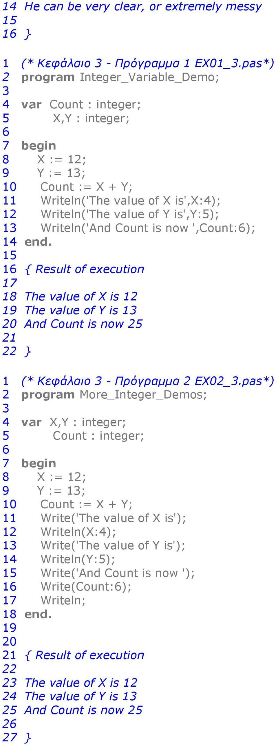 Writeln('And Count is now ',Count:6); 14 end. 15 16 { Result of execution 17 1 The value of X is 1 1 The value of Y is 1 0 And Count is now 5 1 } 1 (* Κεφάλαιο - Πρόγραµµα EX0_.
