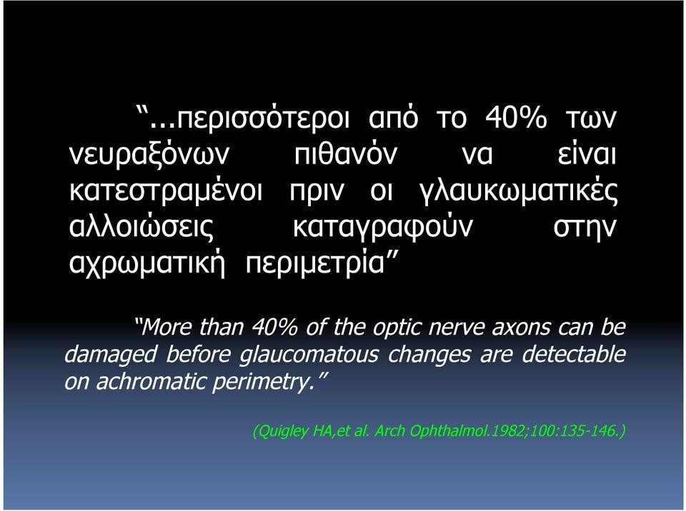 40% of the optic nerve axons can be damaged before glaucomatous changes are