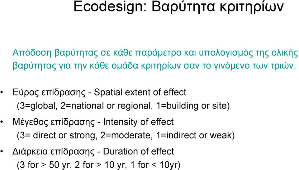 Εύρος επίδρασης - Spatial extent of effect (3=global, 2=national or regional, 1=building or site) Μέγεθος