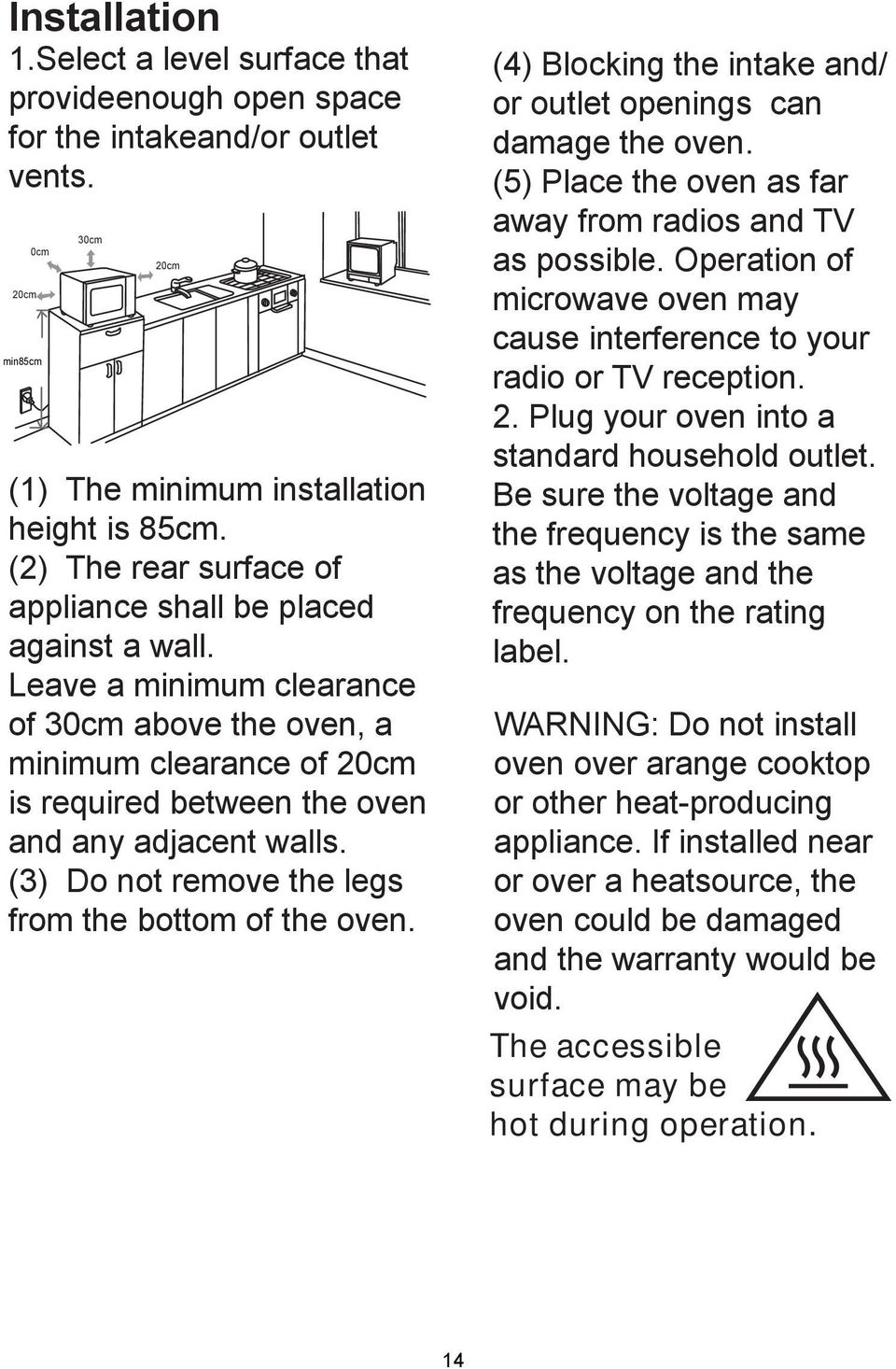 (3) Do not remove the legs from the bottom of the oven. (4) Blocking the intake and/ or outlet openings can damage the oven. (5) Place the oven as far away from radios and TV as possible.