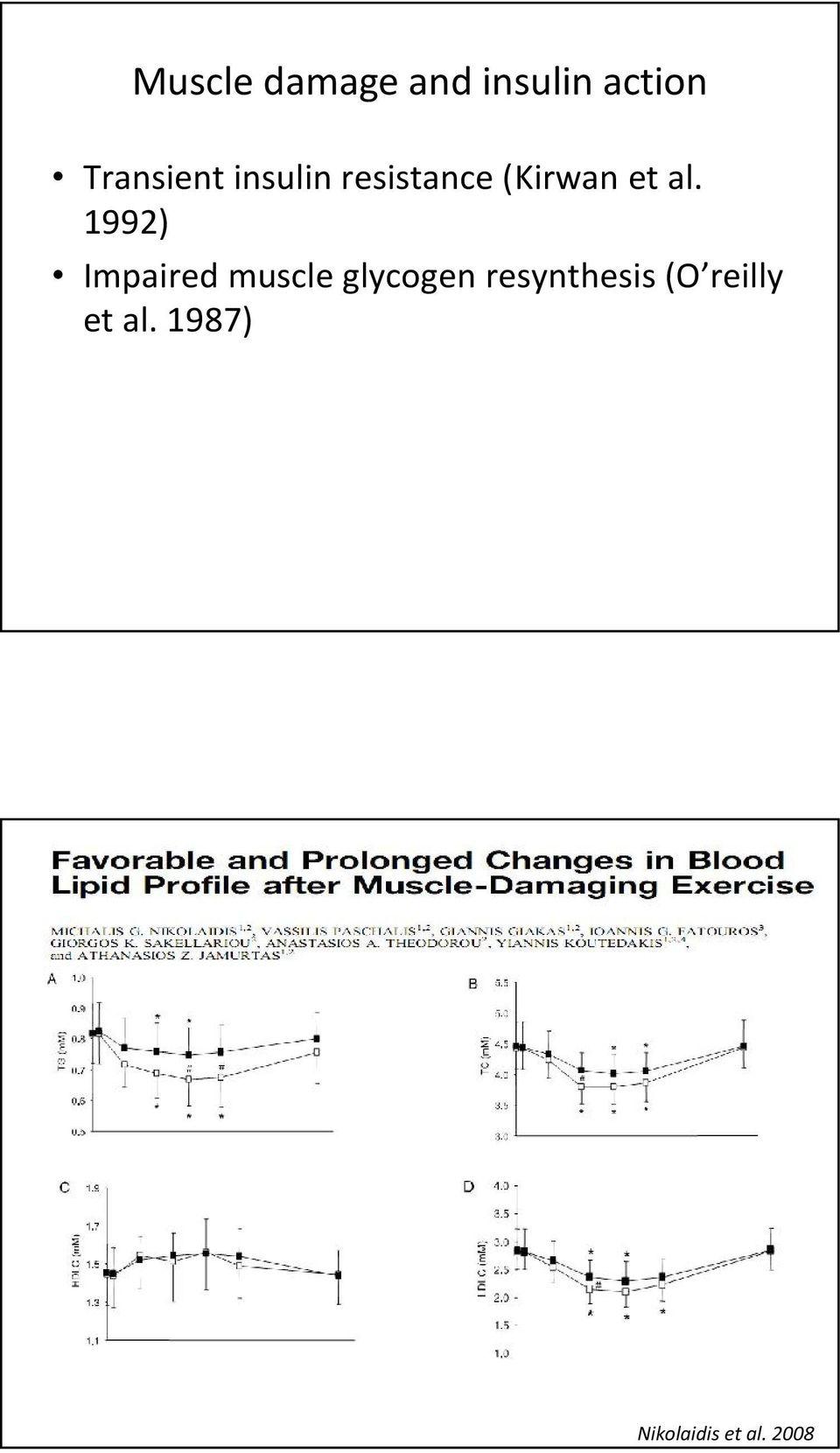 al. 1992) Impaired muscle glycogen