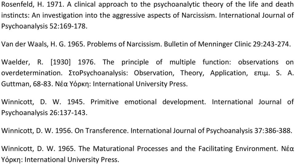 The principle of multiple function: observations on overdetermination. ΣτοPsychoanalysis: Observation, Theory, Application, επιμ. S. A. Guttman, 68-83. Νέα Υόρκη: International University Press.