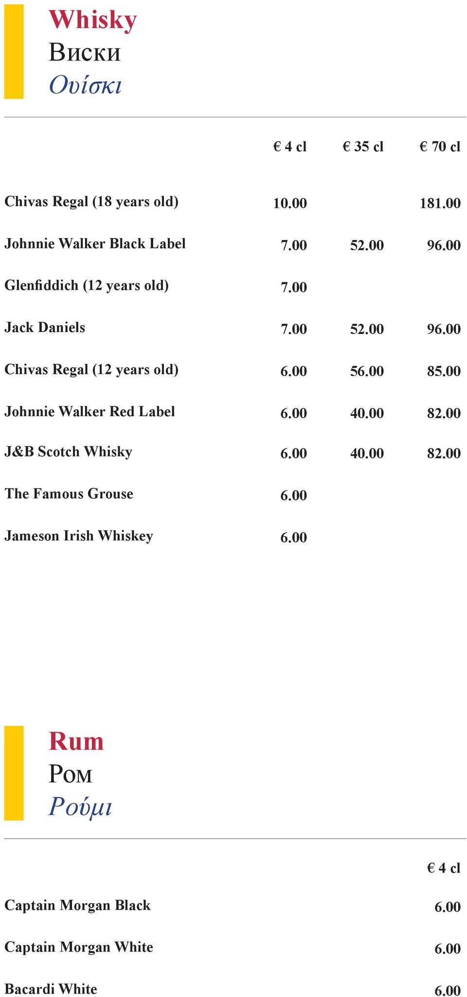 00 56.00 85.00 Johnnie Walker Red Label 6.00 40.00 82.00 J&B Scotch Whisky 6.00 40.00 82.00 The Famous Grouse 6.