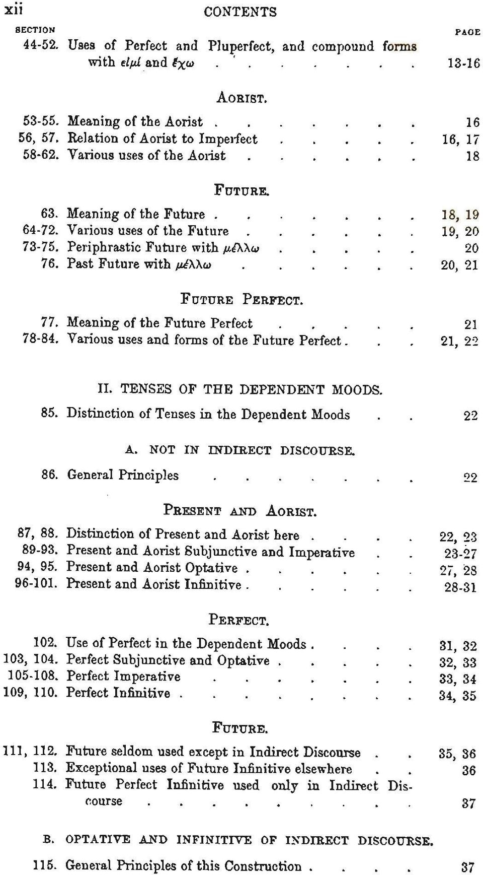Meaning of the Future Perfect 21 84. Various uses and forms of the Future P e r f e c t... 21, 22 II. TENSES OF THE DEPENDENT MOODS. 85. Distinction of Tenses in the Dependent Moods.. 22 A.
