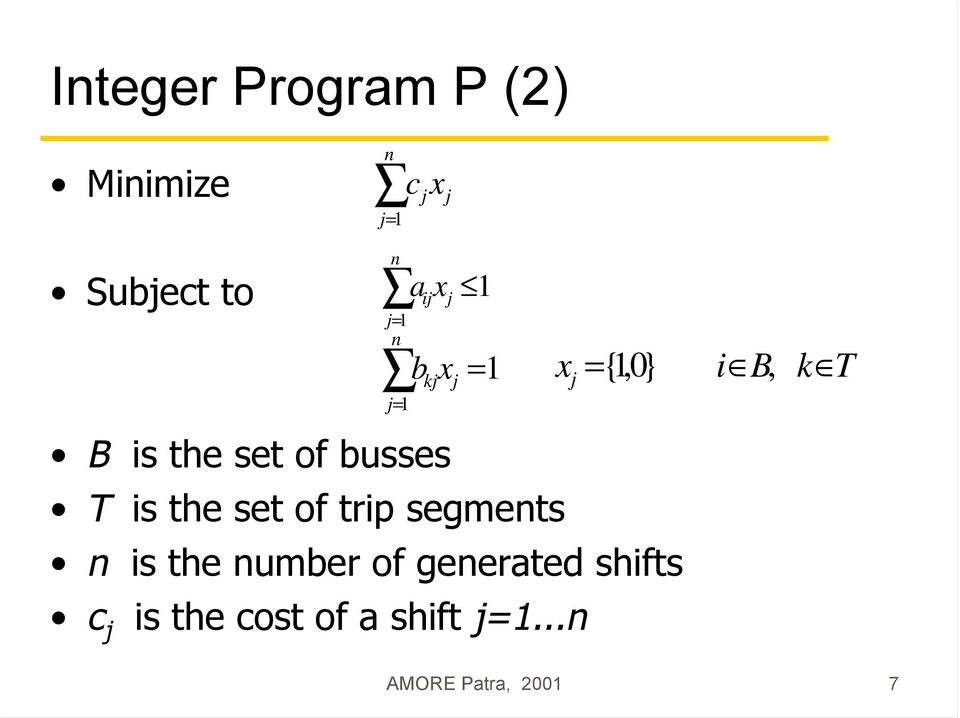 segments n is the number of generated shifts c j is the
