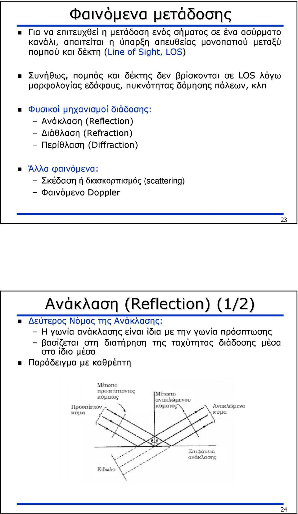 (Reflection) ιάθλαση (Refraction) Περίθλαση (Diffraction) Άλλα φαινόµενα: Σκέδαση ή διασκορπισµός (scattering) Φαινόµενο Doppler 23 Ανάκλαση (Reflection) (1/2)