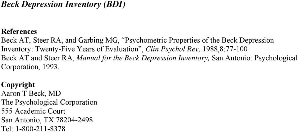 Steer RA, Manual for the Beck Depression Inventory, San Antonio: Psychological Corporation, 1993.