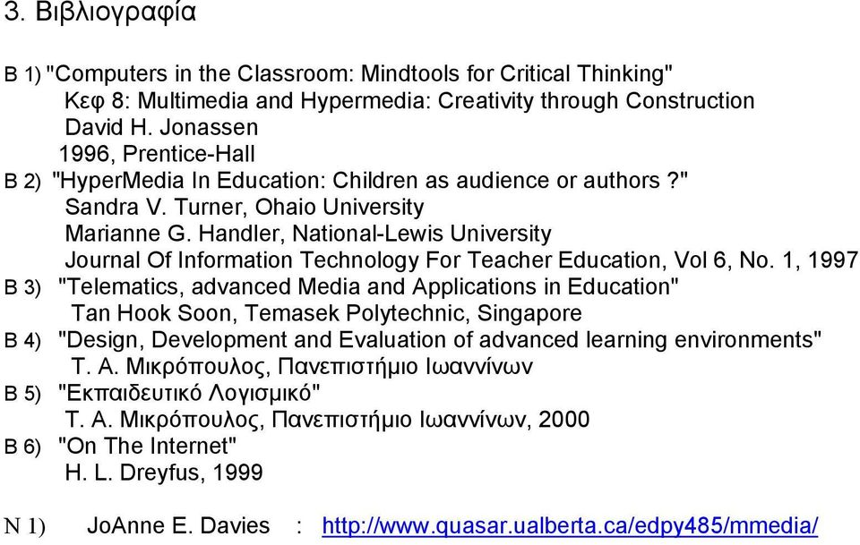 Handler, National-Lewis University Journal Of Information Technology For Teacher Education, Vol 6, No.