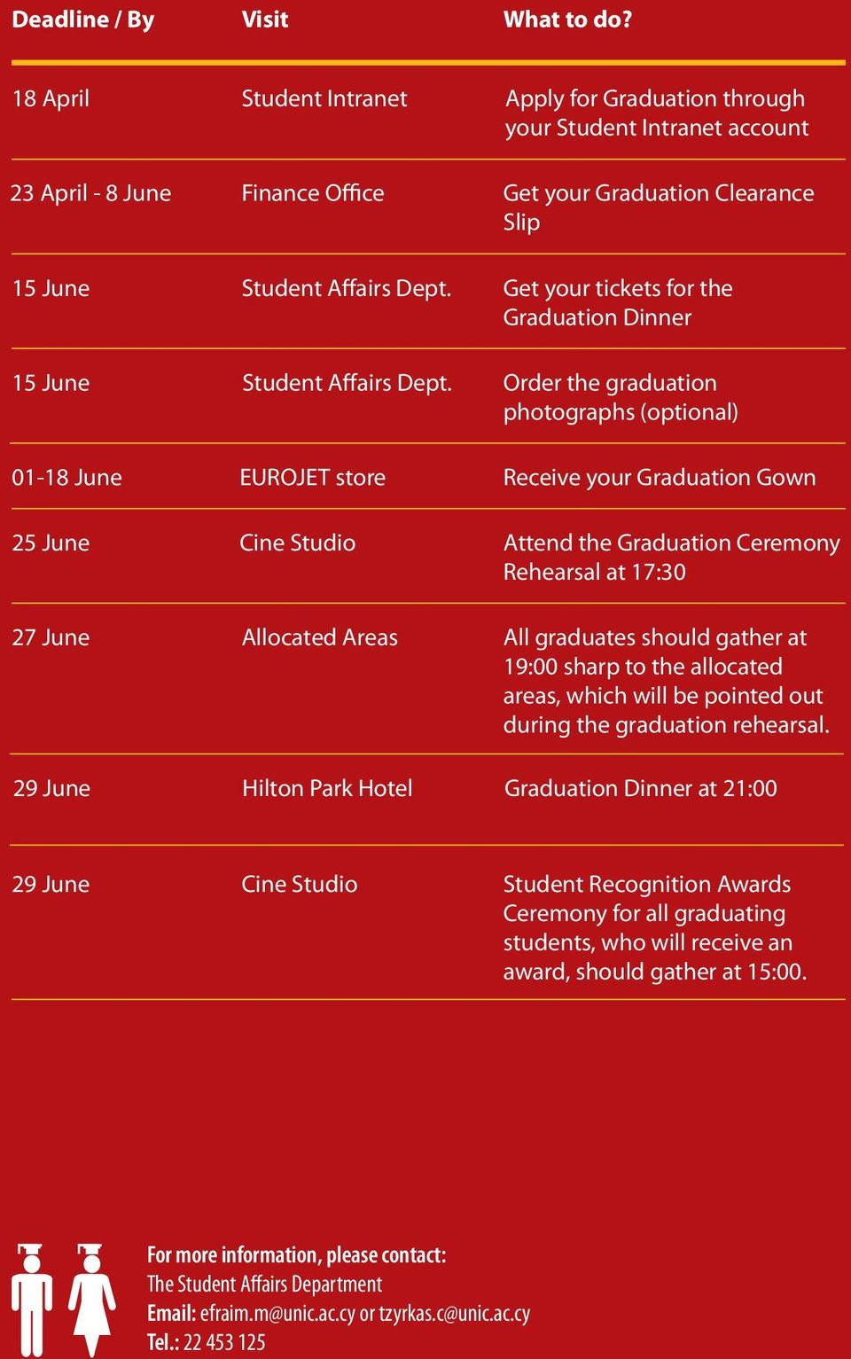 Get your tickets for the Graduation Dinner 15 June Student Affairs Dept.