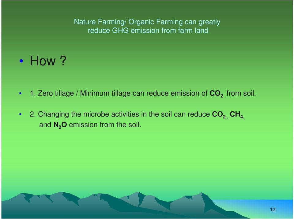 Zero tillage / Minimum tillage can reduce emission of CO 2 from