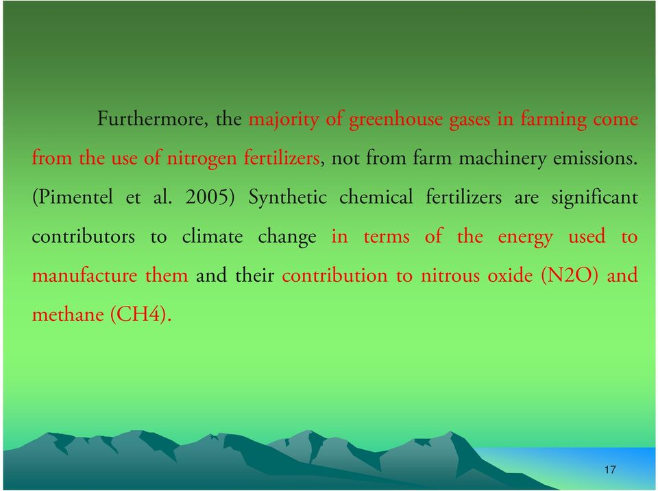 2005) Synthetic chemical fertilizers are significant contributors to climate change in