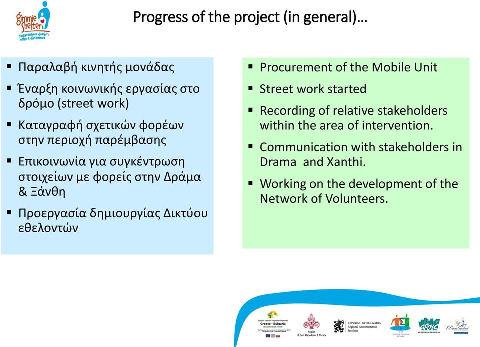 δημιουργίας Δικτύου εθελοντών Procurement of the Mobile Unit Street work started Recording of relative stakeholders within