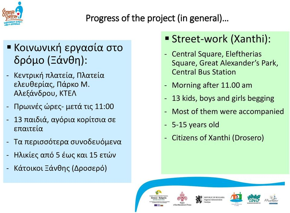 έως και 15 ετών - Κάτοικοι Ξάνθης (Δροσερό) Street-work (Xanthi): - Central Square, Eleftherias Square, Great Alexander s Park, Central