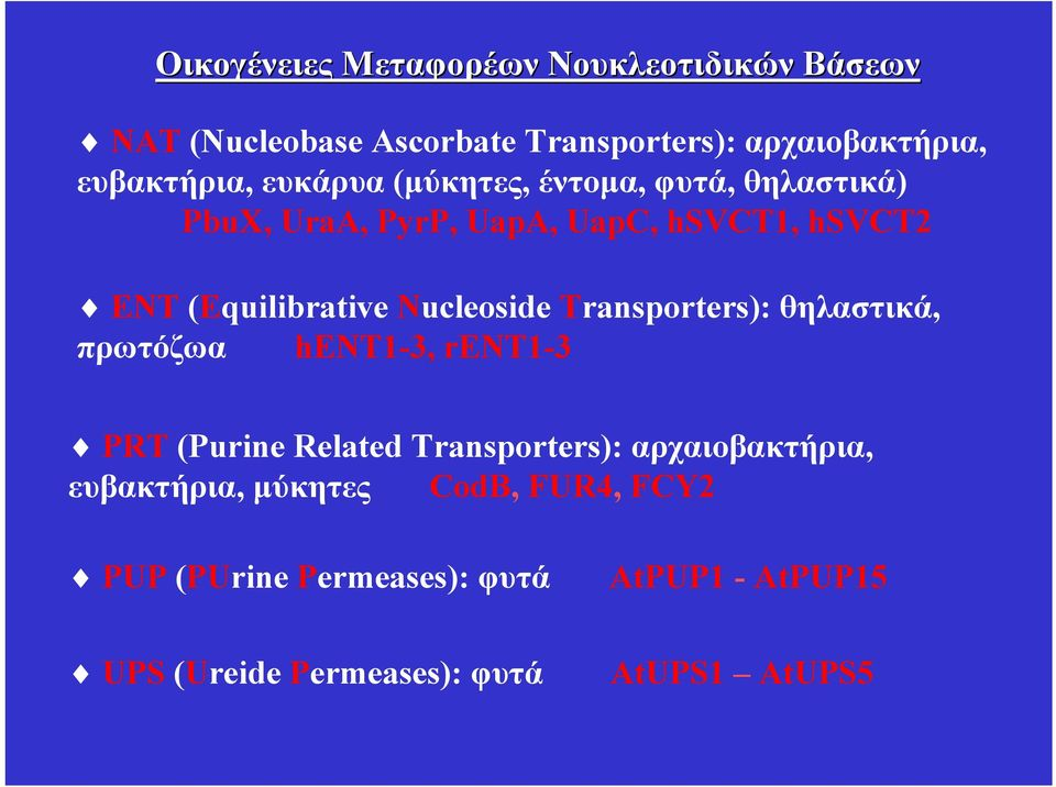Nucleoside Transporters): θηλαστικά, πρωτόζωα hεντ1-3, rent1-3 PRΤ (Purine Related Transporters): αρχαιοβακτήρια,