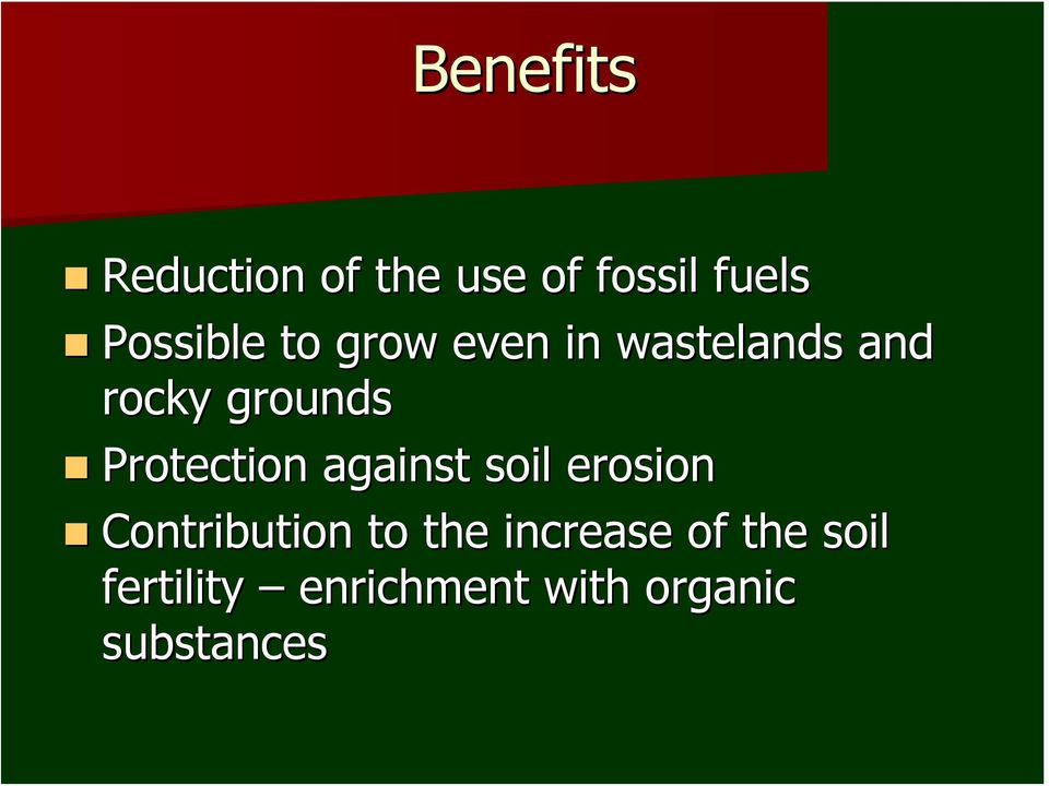 Protection against soil erosion Contribution to the