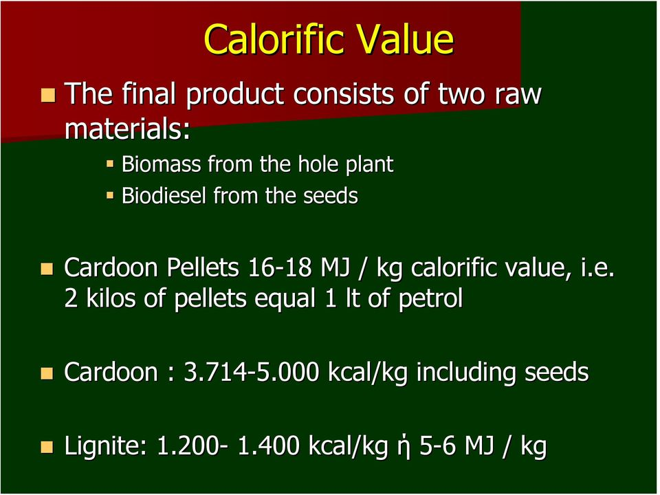 kg calorific value, i.e. 2 kilos of pellets equal 1 lt of petrol Cardoon : 3.