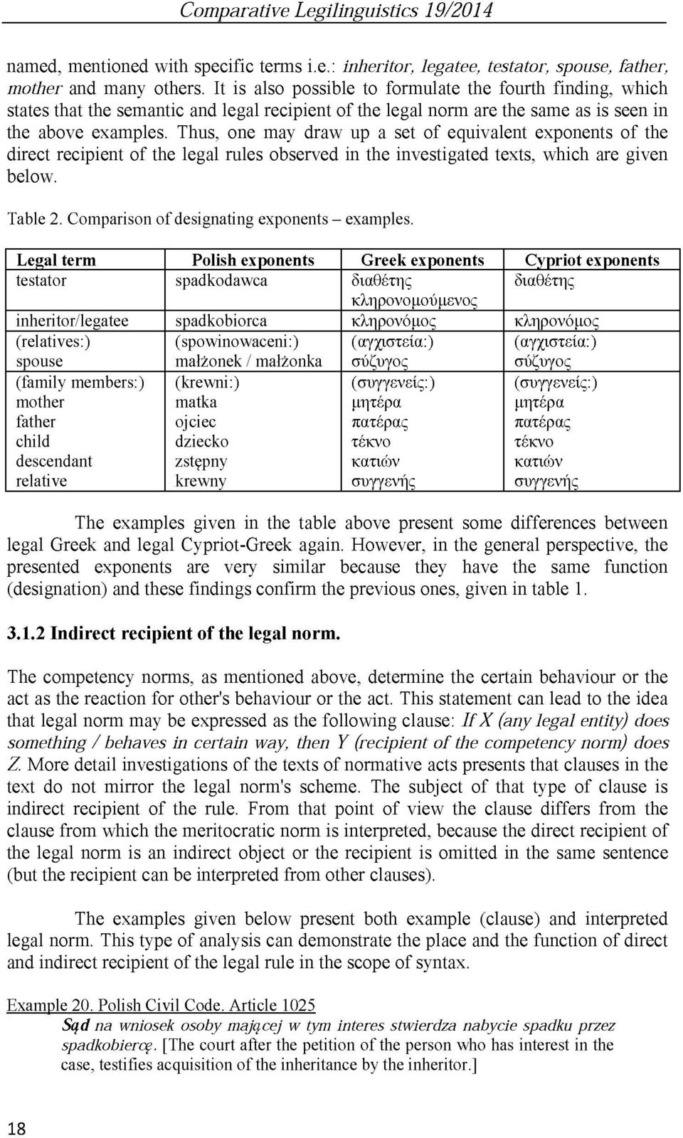 Thus, one may draw up a set of equivalent exponents of the direct recipient of the legal rules observed in the investigated texts, which are given below. Table 2.
