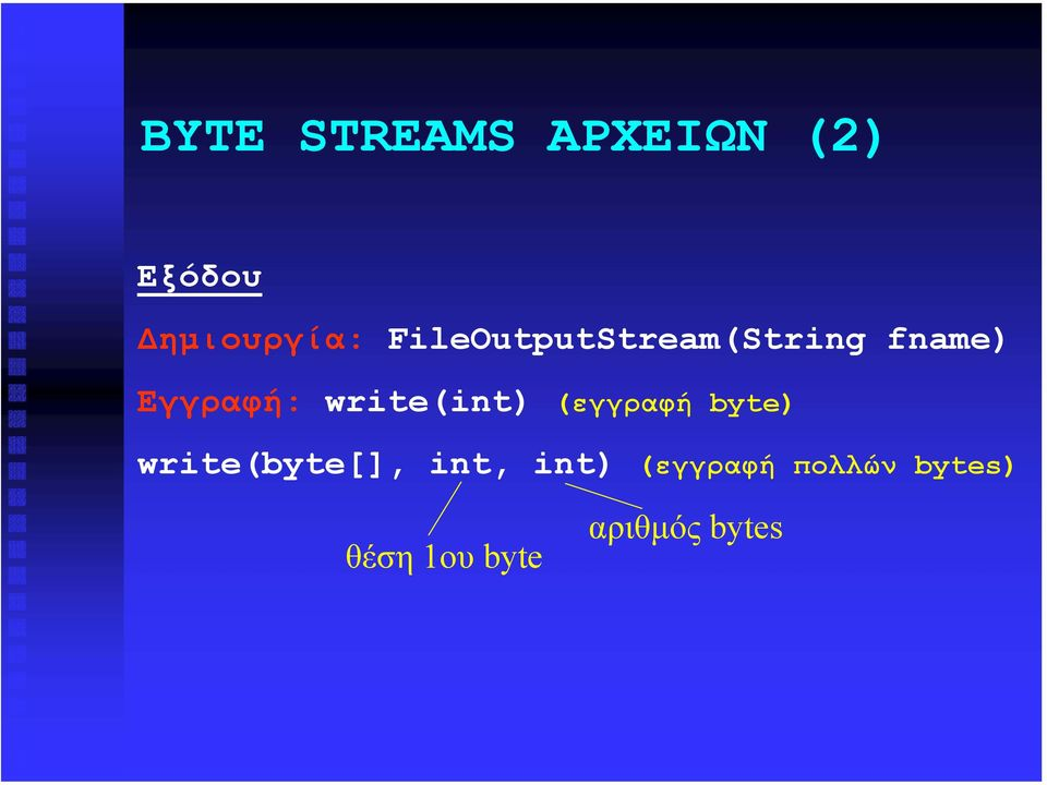write(int) (εγγραφή byte) write(byte[], int,