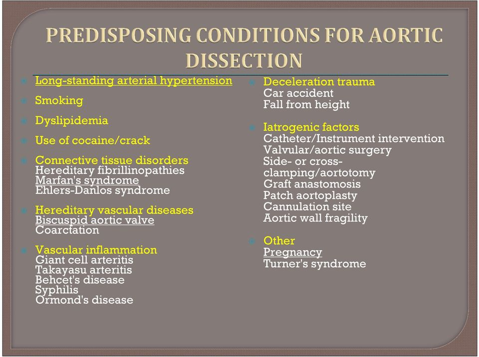 Behcet's disease Syphilis Ormond's disease Deceleration trauma Car accident Fall from height Iatrogenic factors Catheter/Instrument intervention