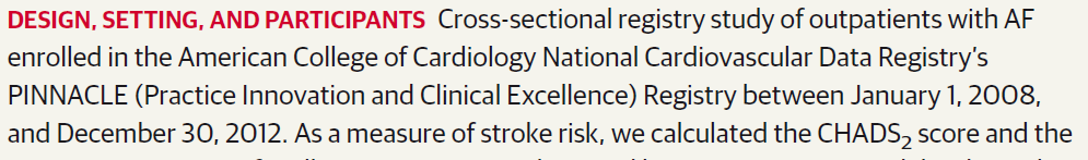 From: Oral Anticoagulant Therapy Prescription in Patients With Atrial Fibrillation Across the Spectrum of Stroke Risk: Insights From the NCDR PINNACLE Registry JAMA Cardiol.