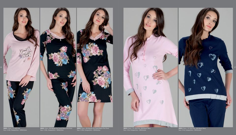 Black-Pink Floral Size> S-ΧXL, Composition> 100%Cotton 50919: Color> 151 Ροζ/ Pink, 289 Μαριν/ Navy