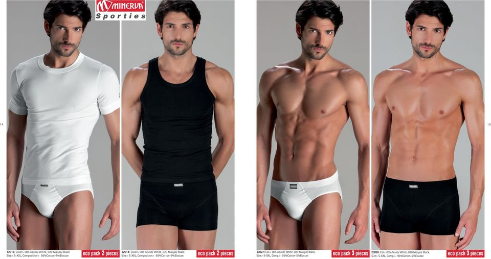 eco pack 2 pieces 23027: Col.> 005 Λευκό/ White, 020 Μαύρο/ Black, Size> S-XXL, Comp.