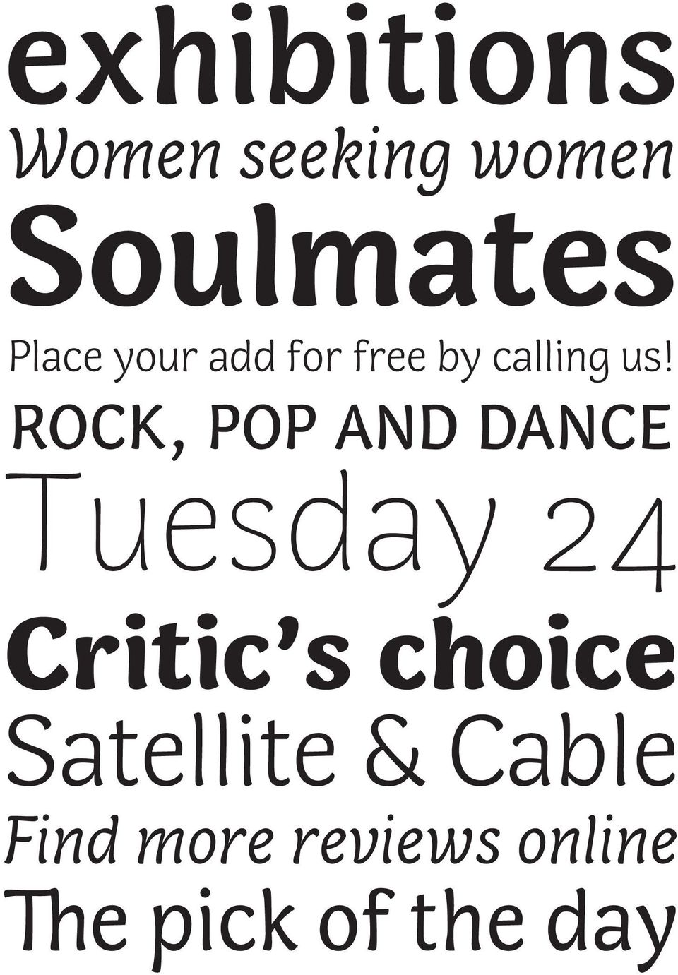 ROCK, POP AND DANCE Tuesday 24 Critic s choice