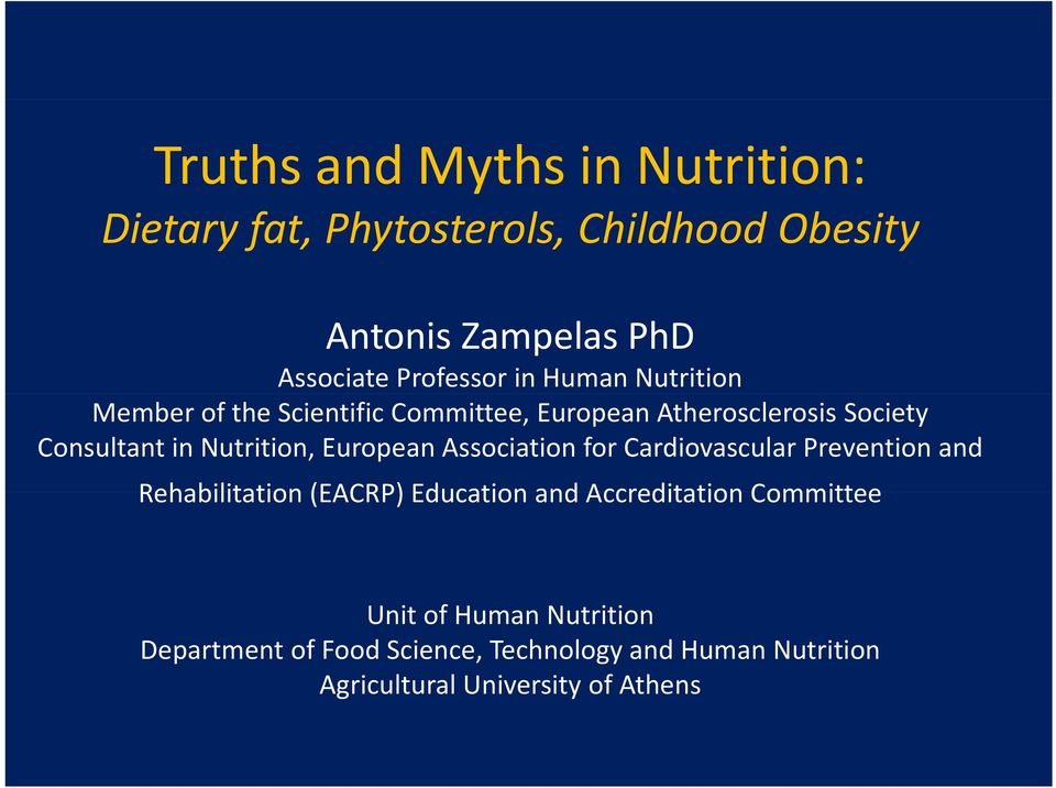 Nutrition, European Association for Cardiovascular Prevention and Rehabilitation (EACRP) Education and