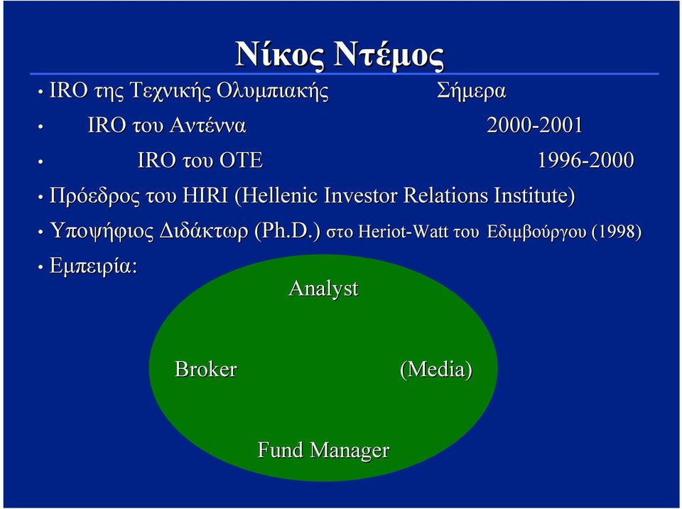 (Hellenic Investor Relations Institute) Υποψήφιος Διδάκτωρ (Ph.D.
