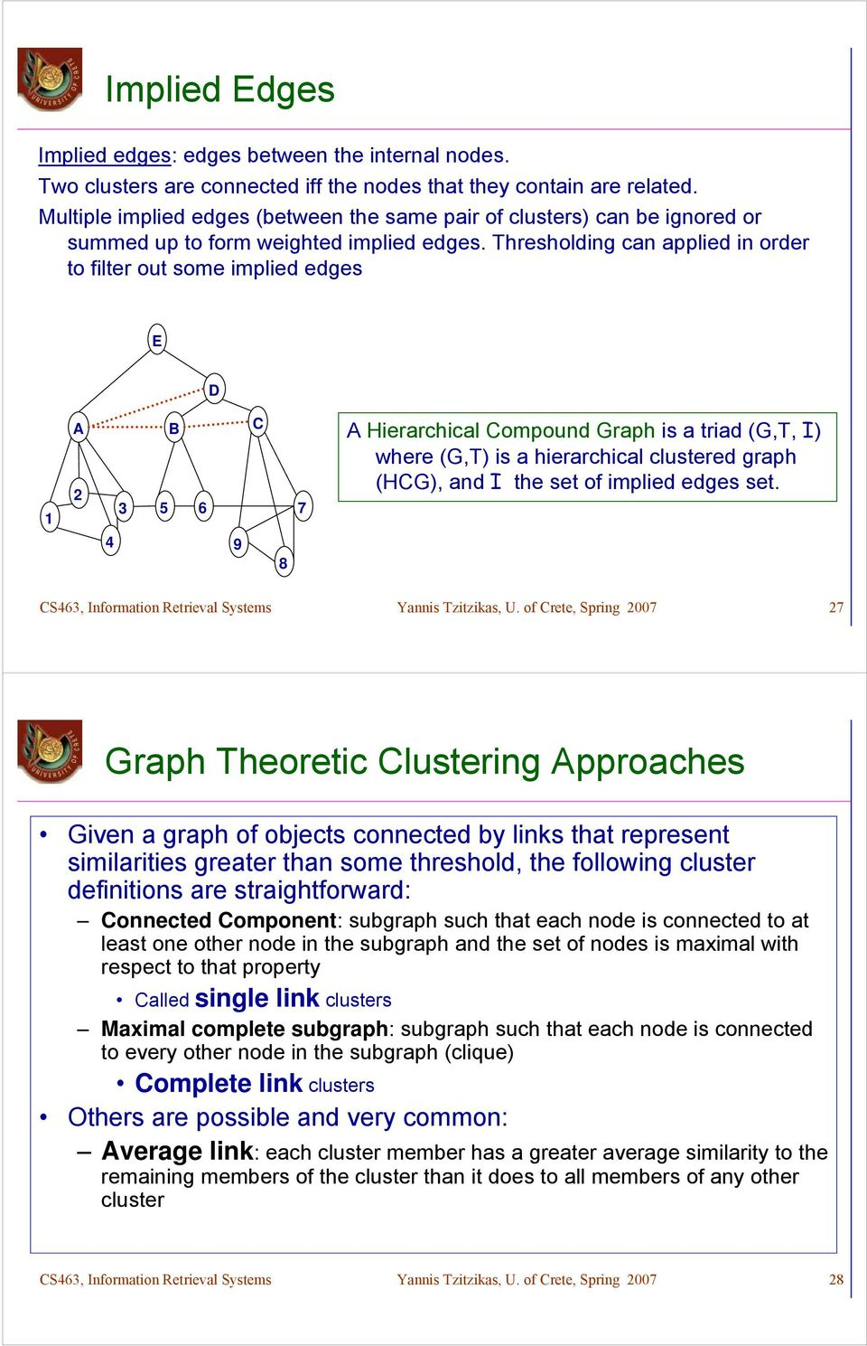 Thresholding can applied in order to filter out some implied edges E D A B C 3 5 6 7 4 9 8 A Hierarchical Compound Graph is a triad (G,T, I) where (G,T) is a hierarchical clustered graph (HCG), and I