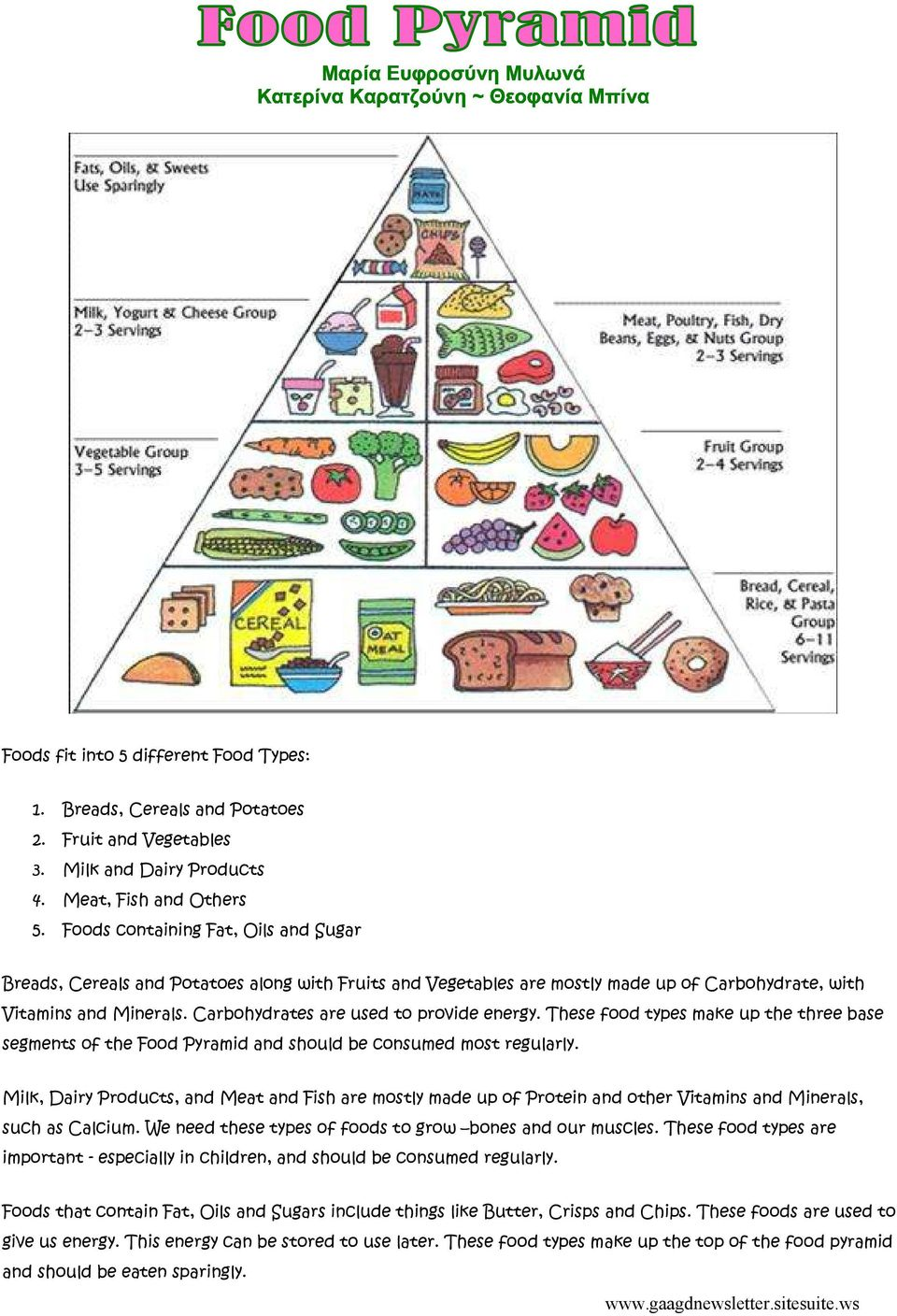 Carbohydrates are used to provide energy. These food types make up the three base segments of the Food Pyramid and should be consumed most regularly.