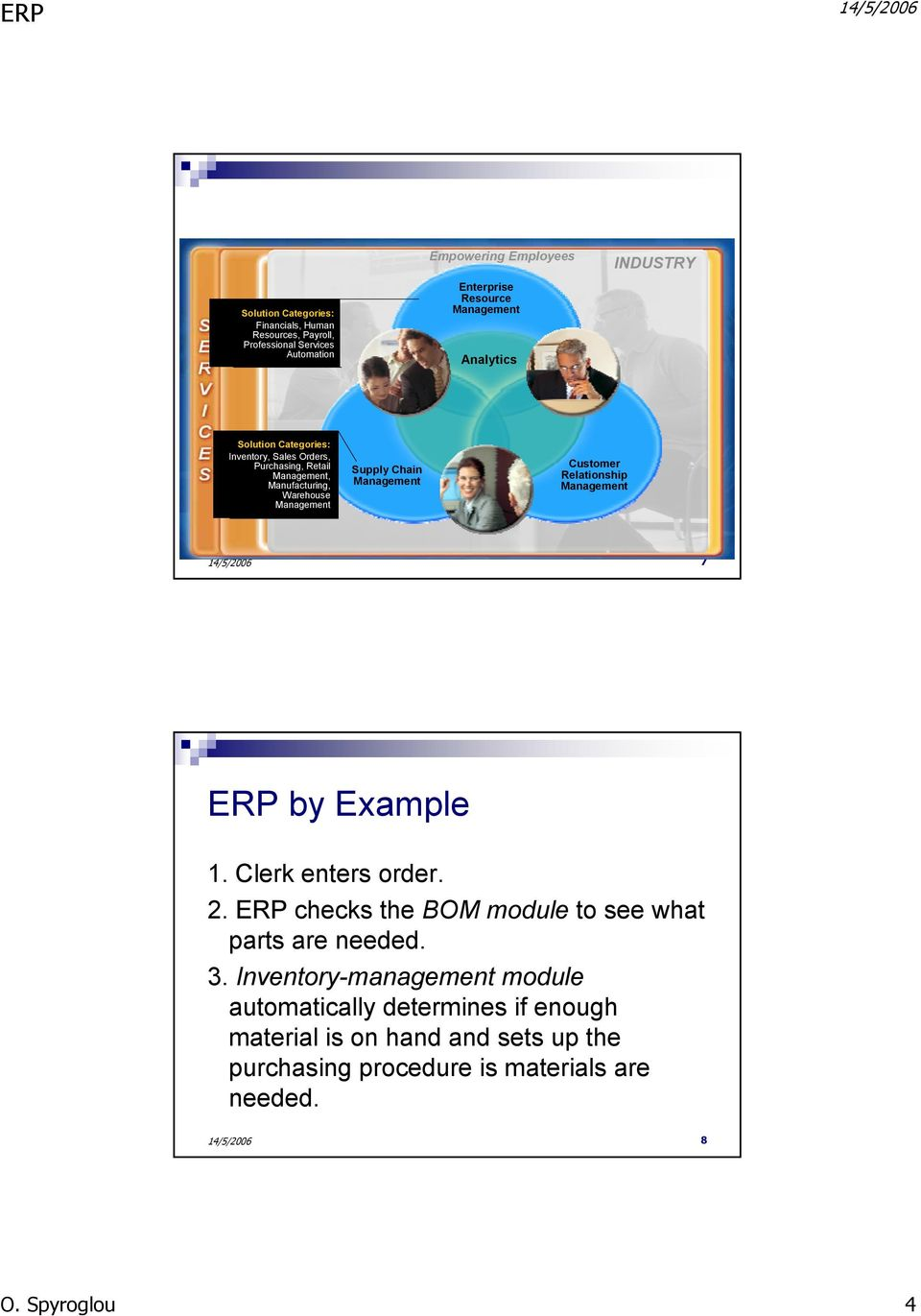 Supply Chain Management Customer Relationship Management 7 ERP by Example 1. Clerk enters order. 2. ERP checks the BOM module to see what parts are needed. 3.
