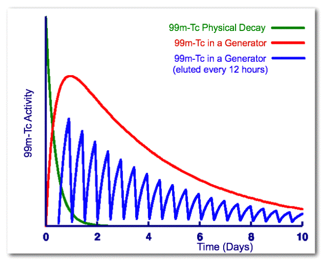 Comparison of the physical decay of 99mTc with its activity arising from 99Mo