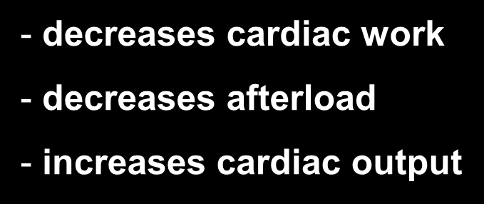 decreases cardiac work -