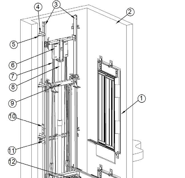 Version: 1.1 Date: 26/04/2012 Page: 3/14 3D layout 1. LANDING DOORS 2. SHAFT WALL 3. GUIDE RAILS 4. GUIDE RAIL BRACKETS 5 WALL BRACKETS 6. PULLEY 7. ROPES 8.