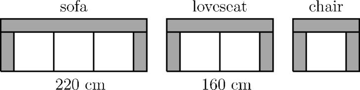 4 point problems (προβλήματα 4 μονάδων) 11. The Modern Furniture store is selling sofas, loveseats(lovecat), and chairs made from identical modular pieces as shown in the picture.